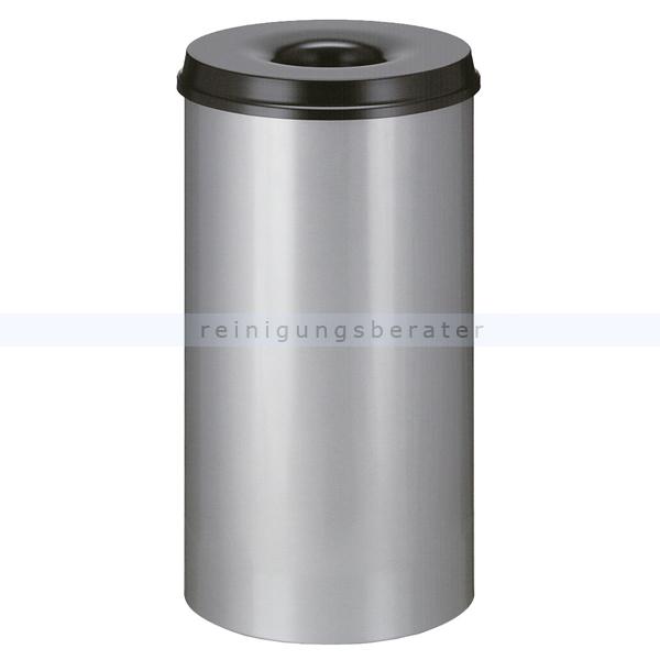 ReinigungsBerater Papierkorb (feuersicher) rund 50 L aluminium-schwarz selbstlöschender Papierkorb Farbe aluminium, mit Deckel 31001880