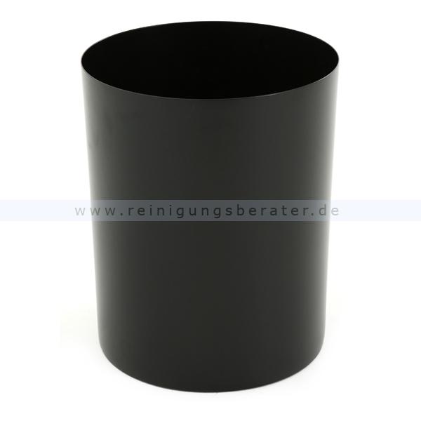 ReinigungsBerater Papierkorb aus Stahl 20 L Schwarz Mülleimer ohne Deckel, feuerfest 31051311