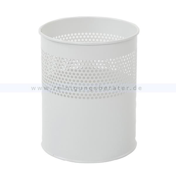 ReinigungsBerater Papierkorb halbperforiert 10 L weiß Metall, feuerfest 31009794