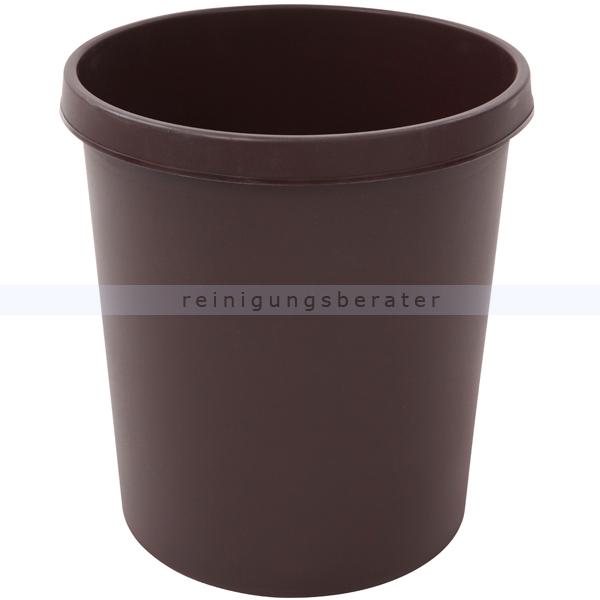 Papierkorb Helit 18 L braun Runder Mülleimer ohne Deckel 86052459