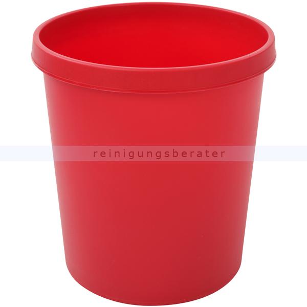 Papierkorb Helit 18 L rot Runder Mülleimer ohne Deckel 86052411