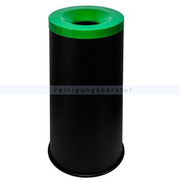 Papierkorb Orgavente Grisu Color 50 L feuersicher selbstlöschender Papierkorb, schwarz-grün 770018