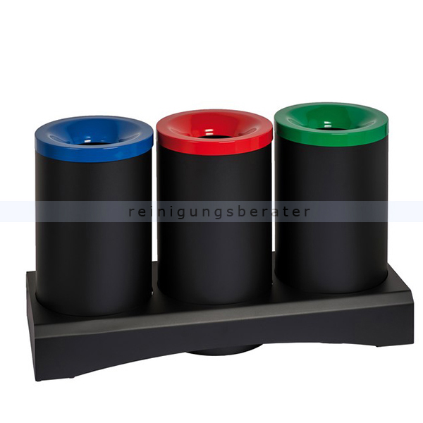 Papierkorb Orgavente TRISU 3x 50 L schwarz feuersicher feuerfester Papierkorb aus Stahl 770351