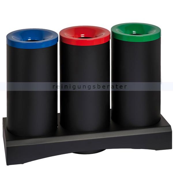 Papierkorb Orgavente TRISU 3x 70 L schwarz feuersicher feuerfester Papierkorb aus Stahl 770371