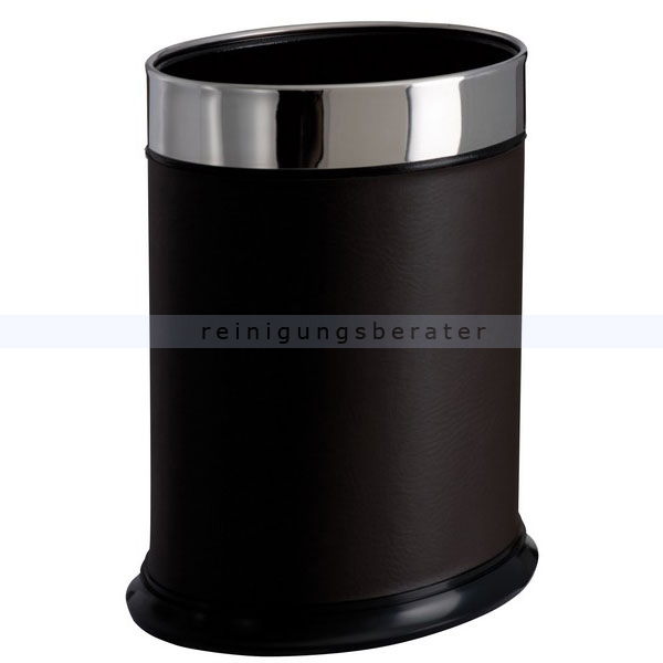 ReinigungsBerater Papierkorb PALACE Lederoptik oval 13 L Mülleimer ohne Deckel, Lederoptik, oval 103051