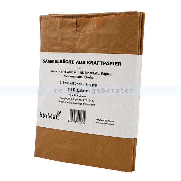 Papiersäcke Natura Biomat Kraftpapier kompostierbar 110 L Kraftpapier extra nassfest 70 g/qm, 3 Stück/Bund, 2-lagig PSE-110-03