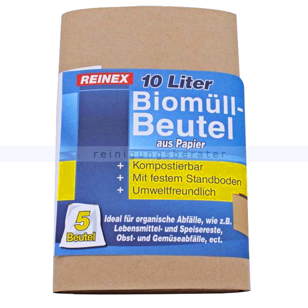 Papiersäcke Reinex Bio Papierbeutel braun 10 L 5er Pack kompostierbar, mit festem Standboden, umweltfreundlich 1351