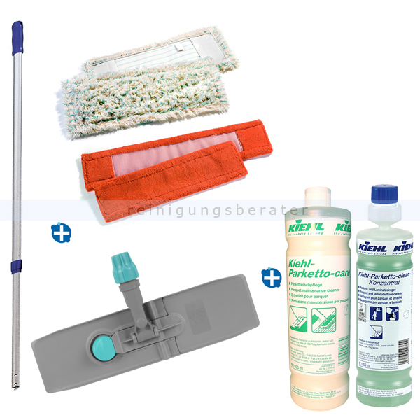 ReinigungsBerater Parkettset bestehend aus sechs Teilen mit zwei Möppen 40 cm speziell geeignet für Parkettböden 00000862
