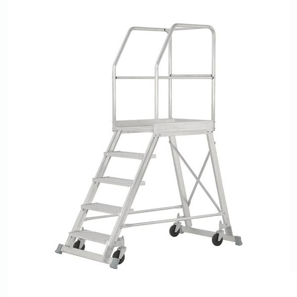 Podestleiter Hymer Podesttreppe einseitig begehbar 4 Stufen fahrbar, Podestgröße 600x800 mm 688804