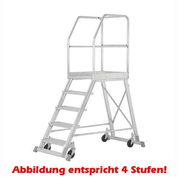 Podestleiter Hymer Podesttreppe einseitig begehbar 8 Stufen fahrbar, Podestgröße 600x800 mm 688808