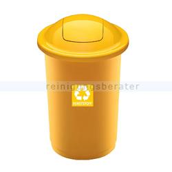 Push-Deckeleimer Top 50 L, gelb mit Aufdruck Kunststoff