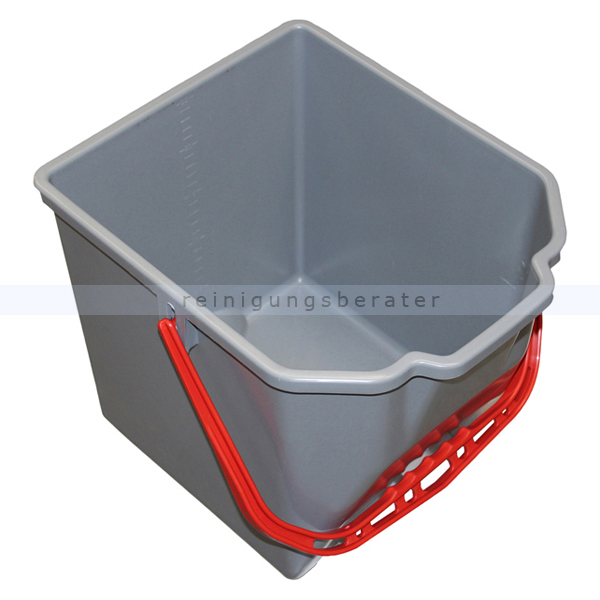 Putzeimer für Reinigungswagen 18 L grau mit rotem Griff
