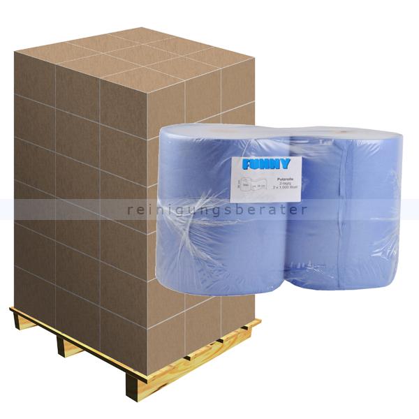 Putztuchrolle blau 2-lagig 36x36 cm Zellstoff, Palette