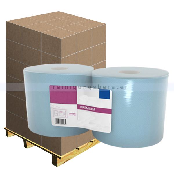 Putztuchrolle Ellis Premium 3-lagig 180 m blau, Palette