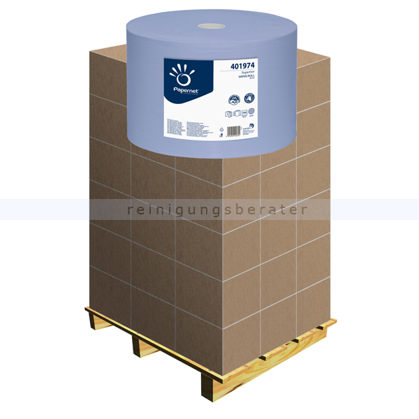 Putztuchrolle Papernet blau 3-lagig 37,6x36 cm, Palette