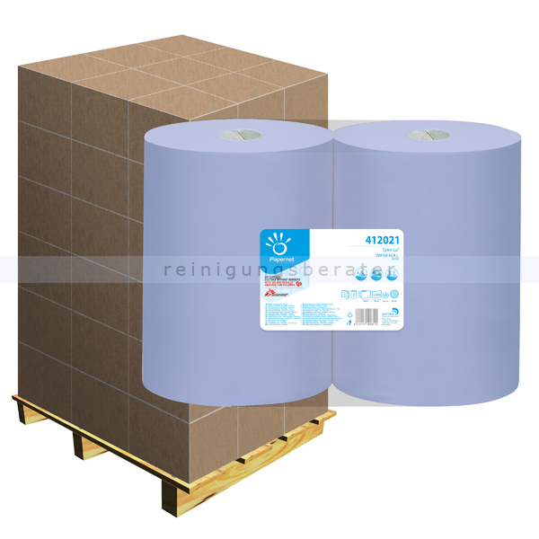 Putztuchrolle Papernet Industrie 2-lagig blau 360 m, Palette