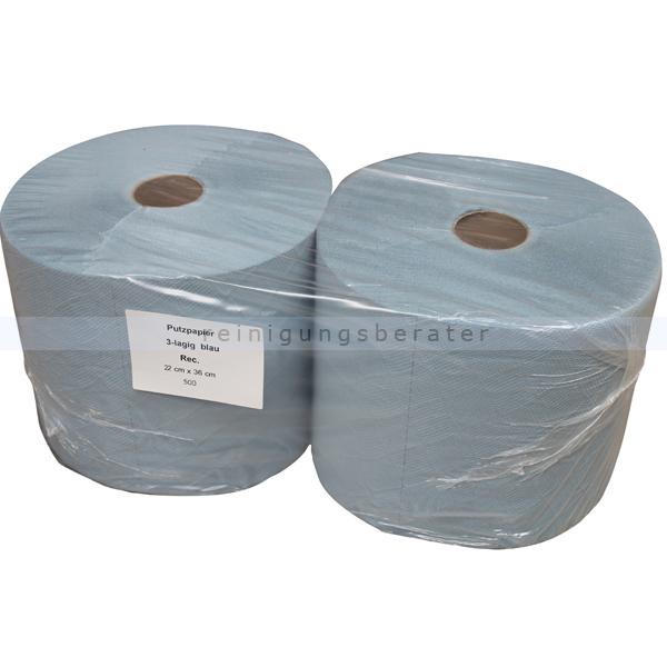 Putztuchrolle Premium 180-3 mit 500 Blatt blau 22 x 36 cm