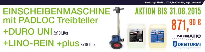 Einscheibenmaschine, Grundreiniger und Beschichtung im SET!