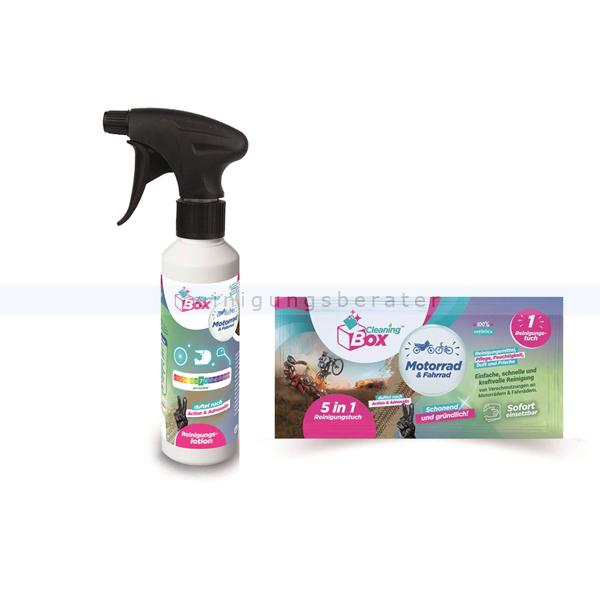 Reinigungsset CleaningBox für Motorrad & Fahrrad 1 inkl. Duftreiniger 250 ml & Einwegtuch 5-in-1 17 x 20 cm