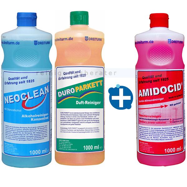 Reinigungsset Dreiturm 3 x 1 L Alkoholreiniger, Sanitärreiniger und Bodenreiniger SETDREIN