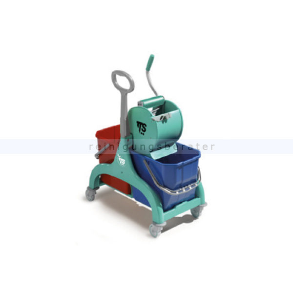 Reinigungswagen TTS Nick 2x15 L, grün mit Dry Presse