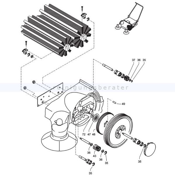 Kehrmaschinen Zubehör Kränzle 50196 Reparatursatz Zahnradsatz links kpl. für Kehrmaschine 2 Plus 2