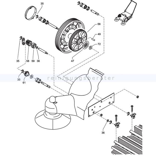 Kehrmaschinen Zubehör Kränzle 50197 Reparatursatz Zahnradsatz rechts kpl. für Kehrmaschine 2 Plus 2