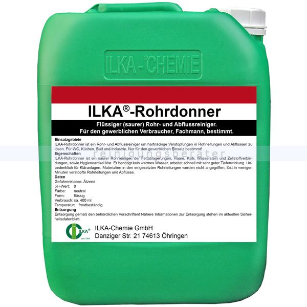 ILKA Chemie Rohrdonner 10 L Abflussreiniger Flüssiger Rohr- und Abflussreiniger, sauer eingestellt 07.29/010