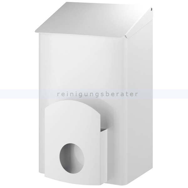 All Care Dutch Bins Sanitärbehälter weiß 7 L Metall, mit Deckel, Behälter geeignet für Blockbodenbeutel 13048