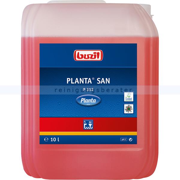 Buzil Sanitärreiniger P312 Planta San 10 L Unterhaltsreiniger auf Zitronensäurebasis mit frischem Duft P312-0010R1