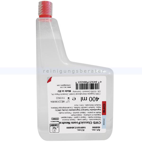 Schaumseife CWS Konzentrat neutral, farblos 400 ml Seifenschaumkonzentrat für CWS 400 Foam Seifenspender C484000