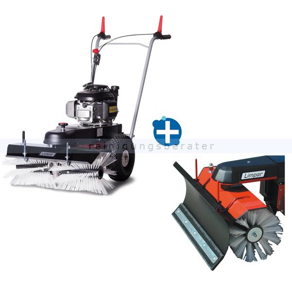 Limpar 67 Kehrmaschine mit Winterbürsten und Schneeschild hochwertige Kehrmaschine mit Honda GCV 160 OHC Motor FKW-F3P+FSS-C68
