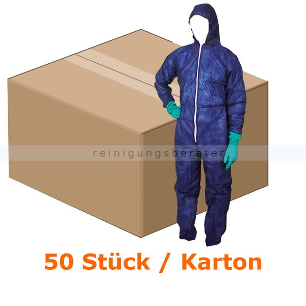 Schutzanzug Ampri PP Med Comfort dunkelblau Gr. L Einwegoverall mit Kapuze, dunkelblau 50 Stück/Karton