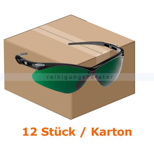Schutzbrille Kimberly Clark JACKSON SAFETY V30 NEMESIS Grün IR UV 5.0 Schweißerschutzsichtscheiben, beschlagfrei, 1 Box x 12 Brillen 25694