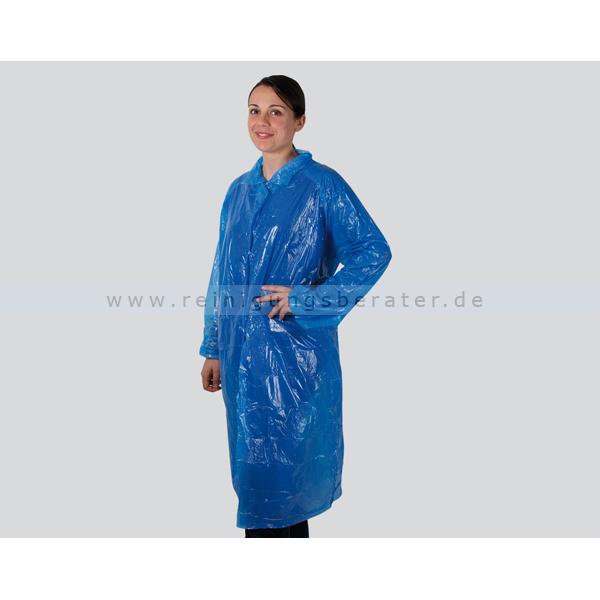 Schutzkittel Ampri, Besuchermantel Einweg PE blau Besucherkittel 115 cm Länge, 50 Stück/Box 05030-B