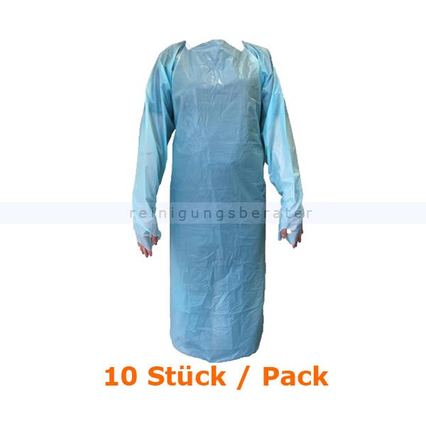 Schutzkittel Ampri Med Comfort PE Kittel hellblau 10 Stück mit Ärmeln und Daumenschlaufe, 112 cm (L) x 90 cm (B) 05090-LB