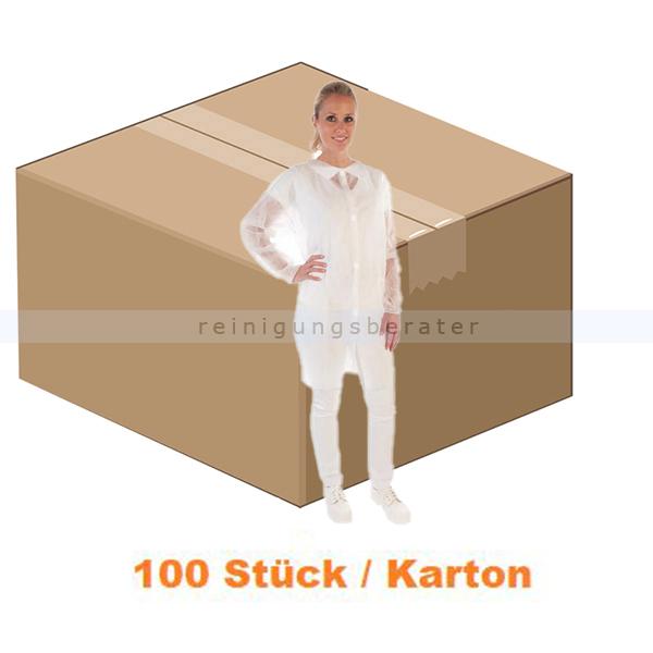 Schutzkittel HygoBase Kittel Eco PP-Vlies weiß XL mit Klettverschluss, lebensmittelecht, 100 Stück/Karton 274039