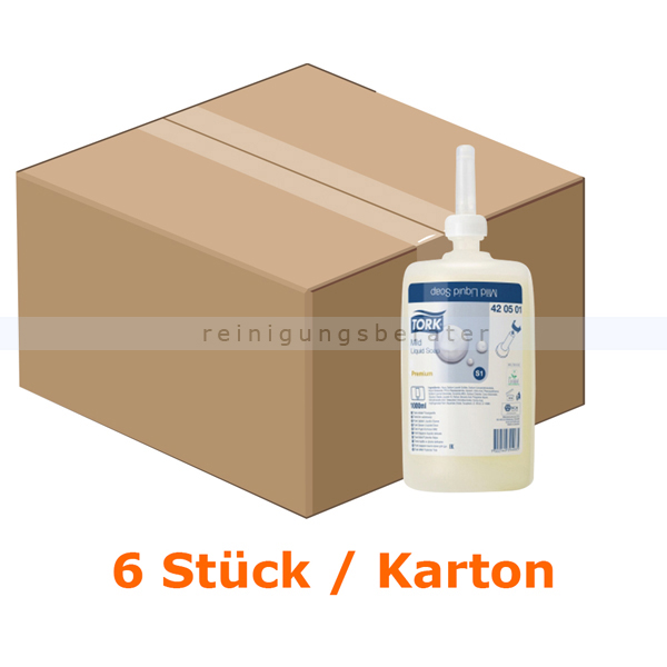 SCA Tork 420501 Seife S1 milde Flüssigseife 6x1 L Hautfreundlich, milde Rezeptur, Tork S1 System