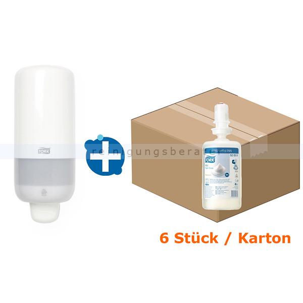 SCA Tork 32520501 Set S4 Schaumseifenspender weiß und 6x1l Seife weißer Seifenspender und Flüssigseife 6x1 L