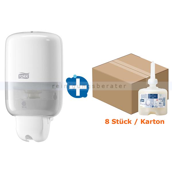 SCA Tork 32420502 Seifenspender Set Mini Spender weiß und 8x475 weißer Mini Seifenspender und ein Karton Flüssigseife