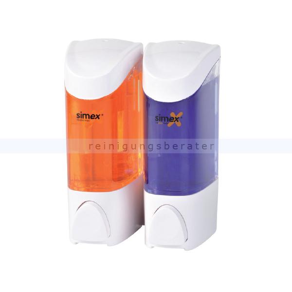 Seifenspender Simex Kunststoff weiß/transparent 2x 300 ml