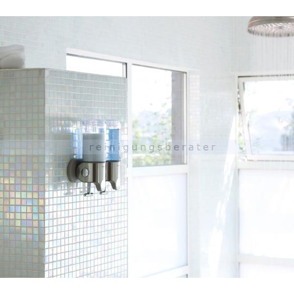 simplehuman spender mit wandhalterung doppelspender bt1028. Black Bedroom Furniture Sets. Home Design Ideas