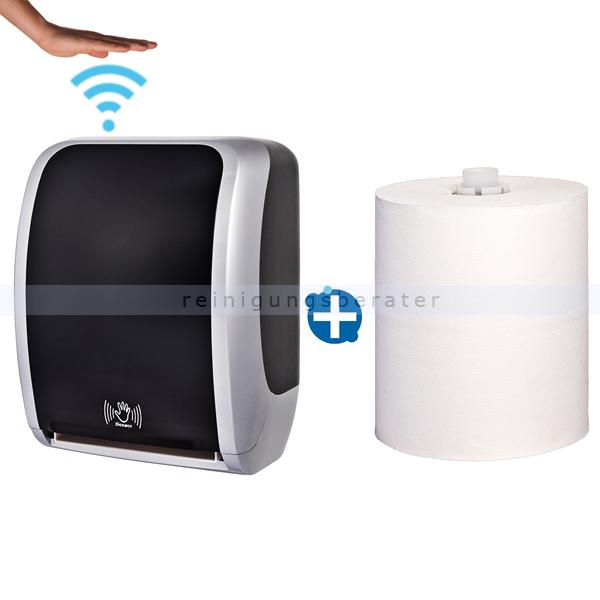Sensor Handtuchspender Cosmos silber/schwarz Set
