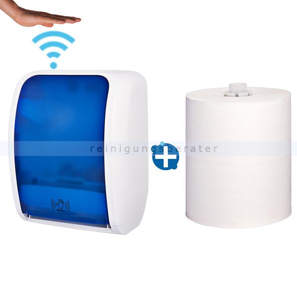 Sensor Handtuchspender Cosmos weiß/blau Set
