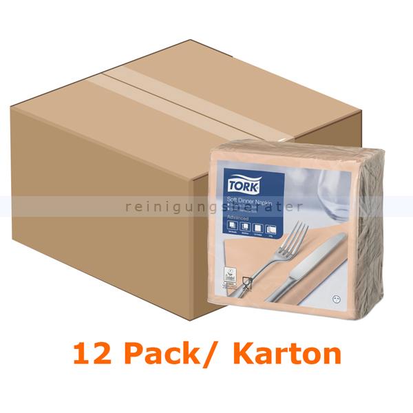 SCA Tork 477912 Soft Dinnerservietten 39 x 39 cm apricot 3-lagig, 12 x 100 Stück/Karton