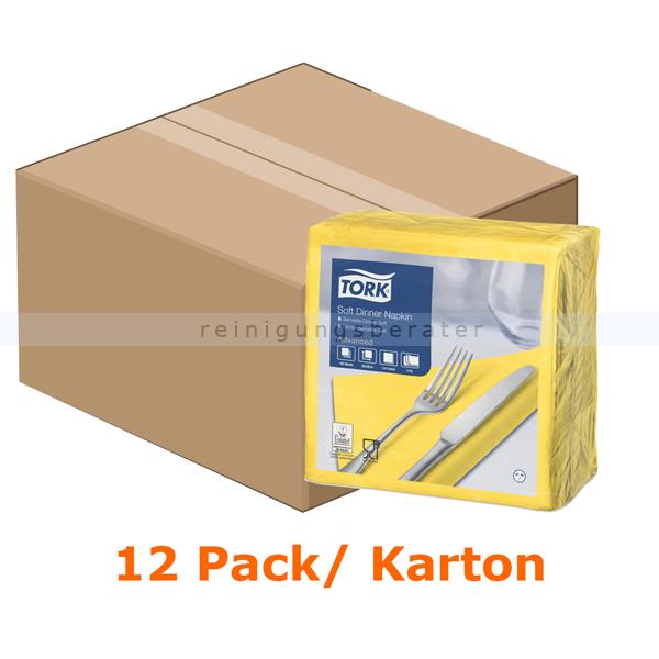 SCA Tork 477911 Soft Dinnerservietten 39 x 39 cm gelb 3-lagig, 12 x 100 Stück/Karton