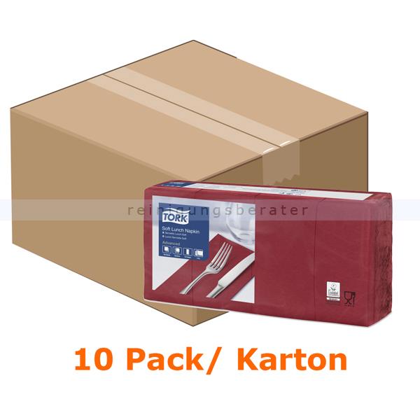 SCA Tork 477418 Soft Lunchservietten 33 x 33 cm bordeaux 3-lagig, 10 x 150 Stück/Karton