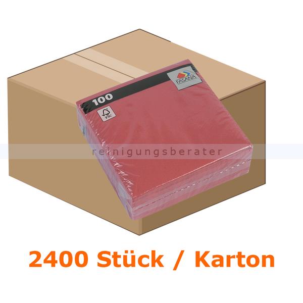 FASANA Präge-Servietten 1-lagig 33x33 cm bordeaux rot 2400 Stück, 1-lagig, 1/4 Falzung, 24 Pack je 100 Stück 98102
