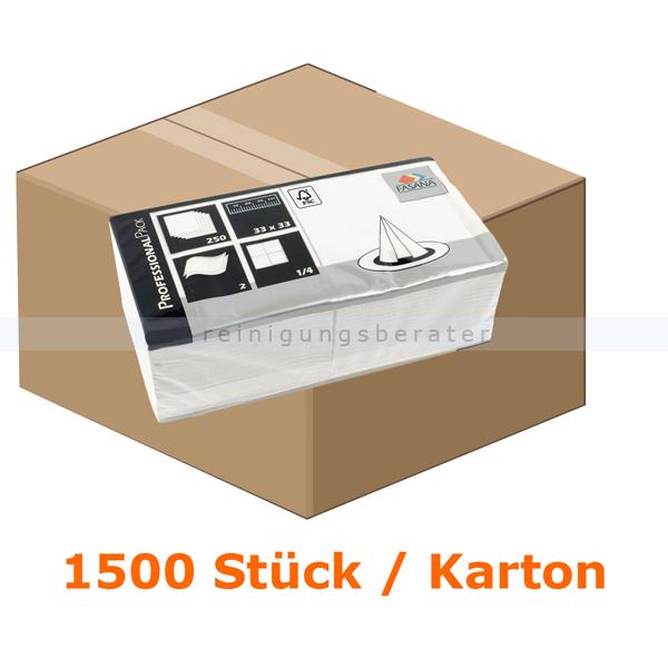 FASANA Zelltuch-Servietten 2-lagig 33x33 cm weiß 1500 Stück, 2-lagig, 1/4 Falzung, 6 Packungen je 250 Stück 97419