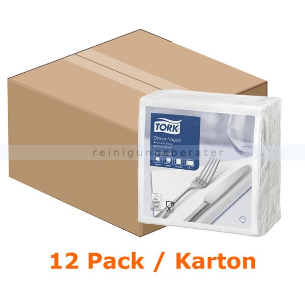 SCA Tork 478746 Dinnerservietten 39 x 39 cm weiß 2-lagig, 12 x 150 Stück/Karton